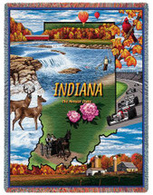 State of Indiana - Cotton Woven Blanket Throw - Made in the USA (72x54) Tapestry Throw