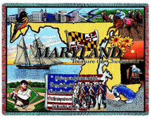 State of Maryland - Cotton Woven Blanket Throw - Made in the USA (72x54) Tapestry Throw