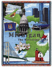 State of Michigan - Cotton Woven Blanket Throw - Made in the USA (72x54) Tapestry Throw