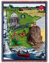 State of Minnesota - Cotton Woven Blanket Throw - Made in the USA (72x54) Tapestry Throw