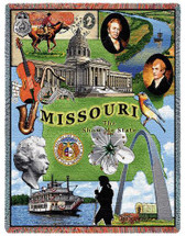 State of Missouri - Cotton Woven Blanket Throw - Made in the USA (72x54) Tapestry Throw