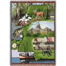 State of Mississippi - Cotton Woven Blanket Throw - Made in the USA (72x54) Tapestry Throw