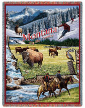 State of Montana - Cotton Woven Blanket Throw - Made in the USA (72x54) Tapestry Throw