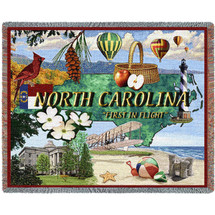 State of North Carolina - Cotton Woven Blanket Throw - Made in the USA (72x54) Tapestry Throw