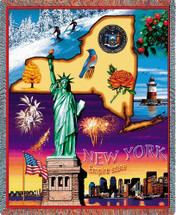 State of New York - Cotton Woven Blanket Throw - Made in the USA (72x54) Tapestry Throw