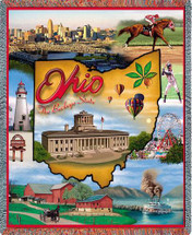 State of Ohio - Cotton Woven Blanket Throw - Made in the USA (72x54) Tapestry Throw
