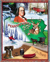 State of Pennsylvania - Cotton Woven Blanket Throw - Made in the USA (72x54) Tapestry Throw