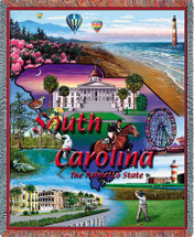 State of South Carolina - Cotton Woven Blanket Throw - Made in the USA (72x54) Tapestry Throw