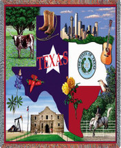 State of Texas - Cotton Woven Blanket Throw - Made in the USA (72x54) Tapestry Throw