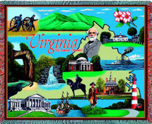 State of Virginia - Cotton Woven Blanket Throw - Made in the USA (72x54) Tapestry Throw
