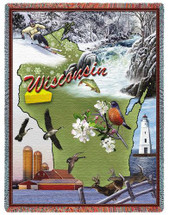 State of Wisconsin - Cotton Woven Blanket Throw - Made in the USA (72x54) Tapestry Throw