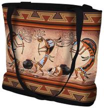 Kokopelli Pot Dance - Southwest Cave Rock Art - Tote Bag