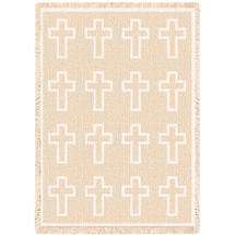 Cross Natural Blanket Afghan