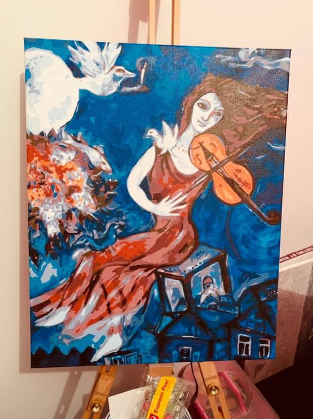 Female Blue Violinist by Lynda S
