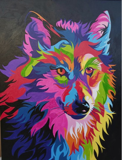 Paint by Numbers - Colourful Wolf by Joan M