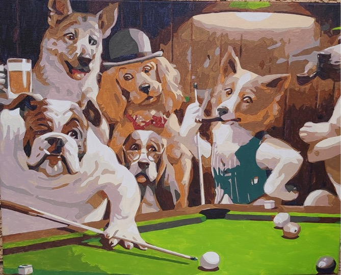 Dogs Playing Pool by Joan M