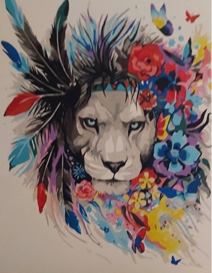 Paint by Numbers Kit - Flower Lion by Joan M