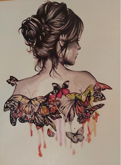 Paint by Numbers - Lady and Butterflies by Joan M