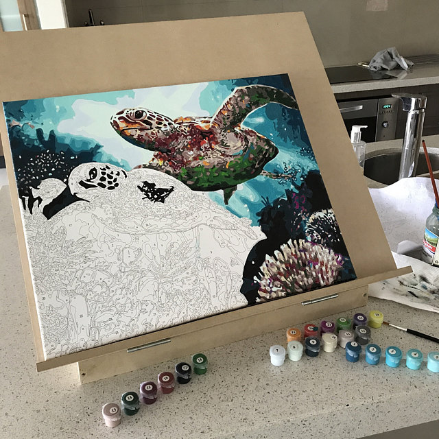 Paint by Numbers - Long Life Turtles by Karen M