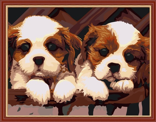 Paint by Numbers Kit - Two Brown Puppies