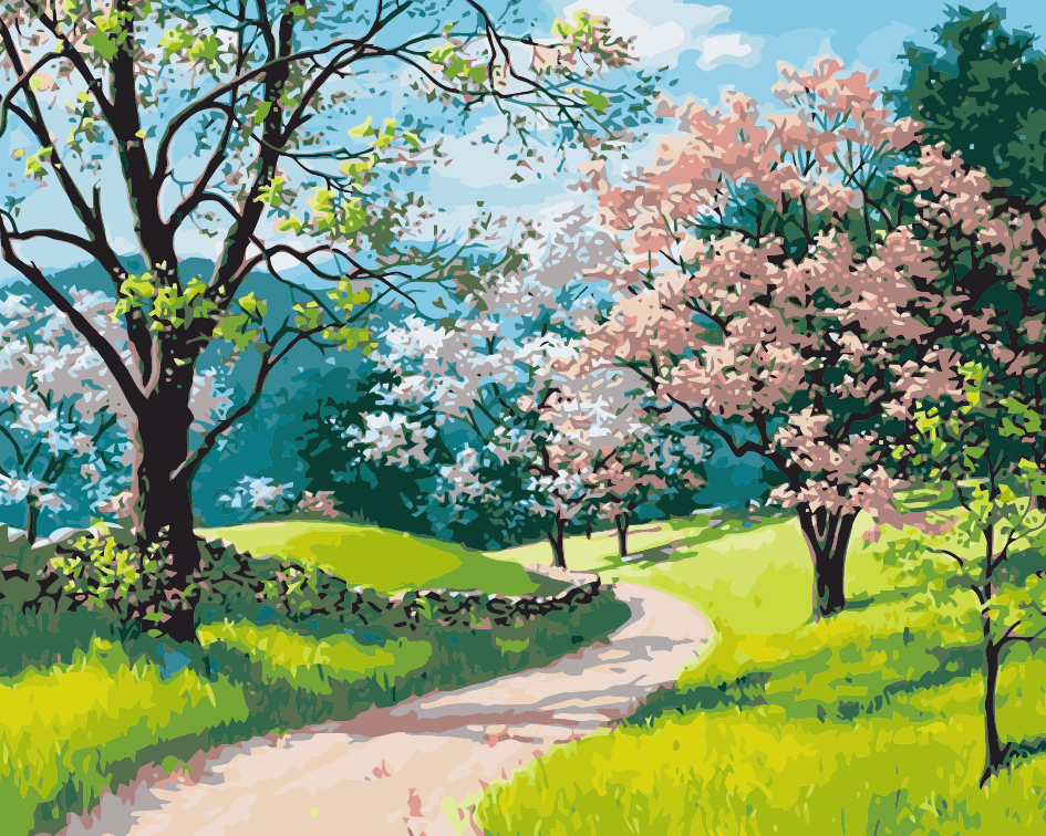 Paint by Numbers kit - Cherry Blossom Forest