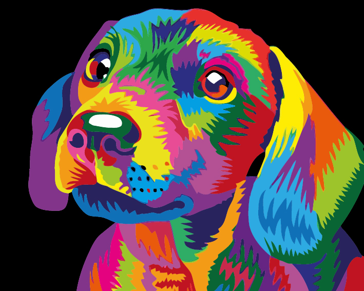 Paint by Numbers Kit - Colourful Puppy