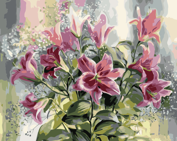 Paint by Numbers Kit - Lillies in Bloom
