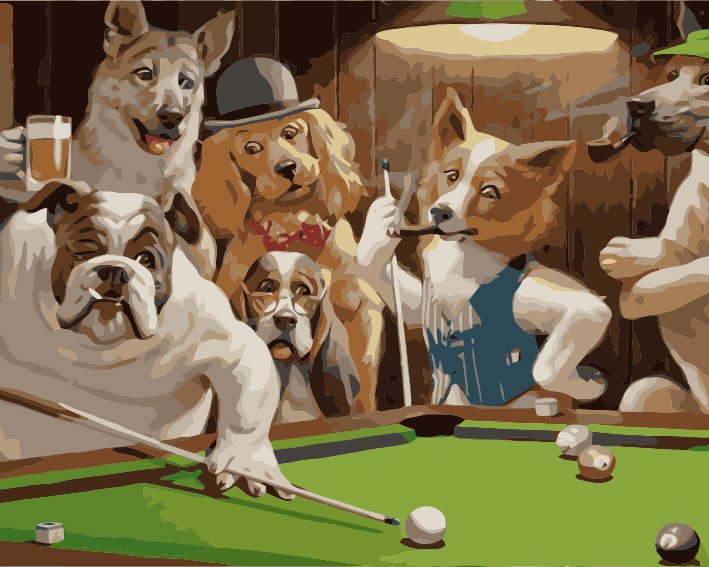 Paint by Numbers Kit - Dogs Playing Pool