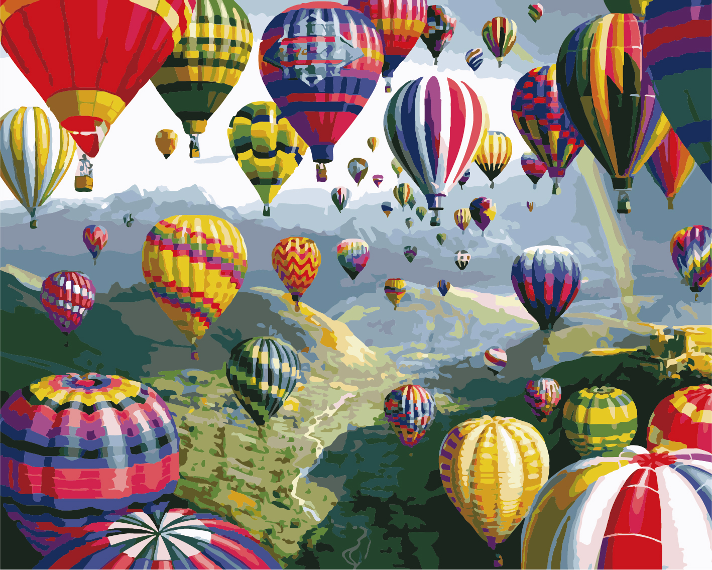 Paint by Numbers Kit - Sky Hot Air Balloons