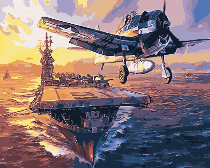 Paint by Numbers - Warship and Planes