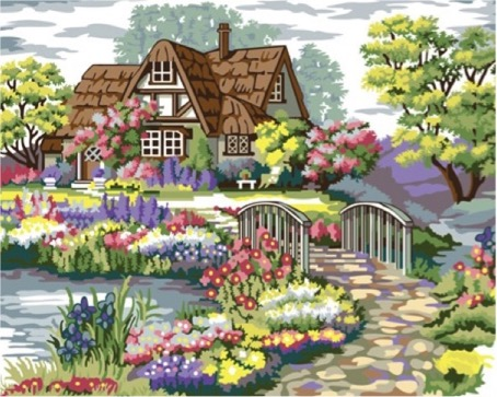 Paint by Numbers Kit - Purple Country Town