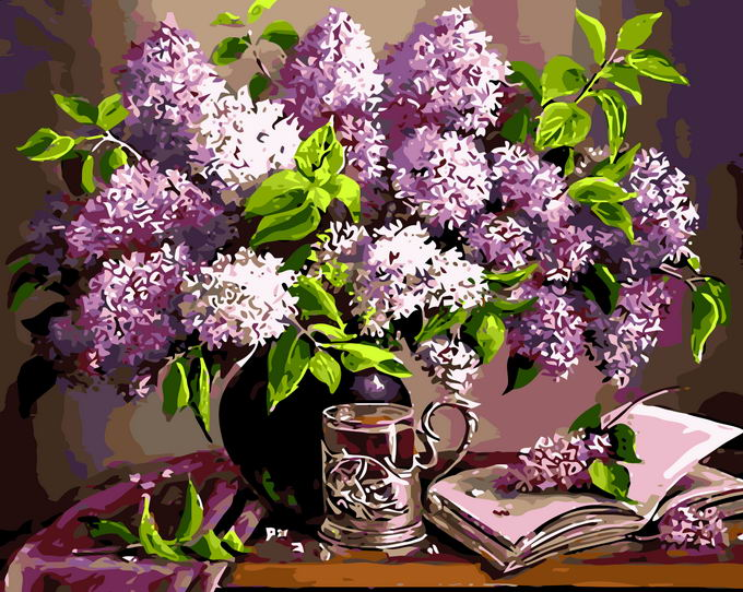 Paint by Numbers Kit - Purple Blossom