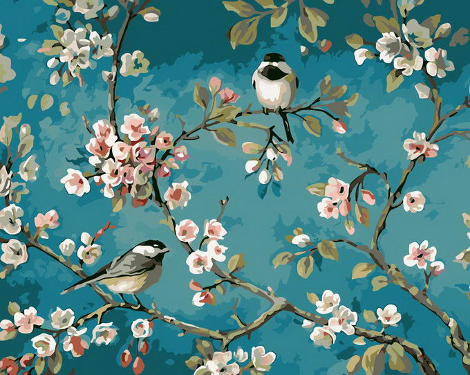 Paint by Numbers Kit - Sparrows on the Almond Tree