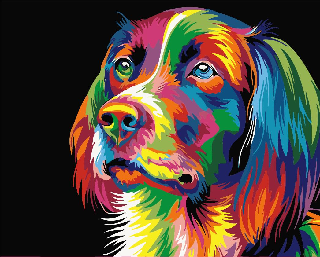 Kids Paint by Numbers Kit - Colourful Dog