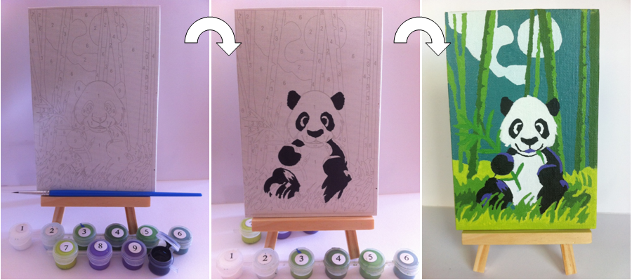 Painting by numbers Panda - How to Paint