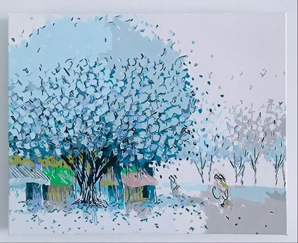 Paint by Numbers - Blue Tree by Penny A