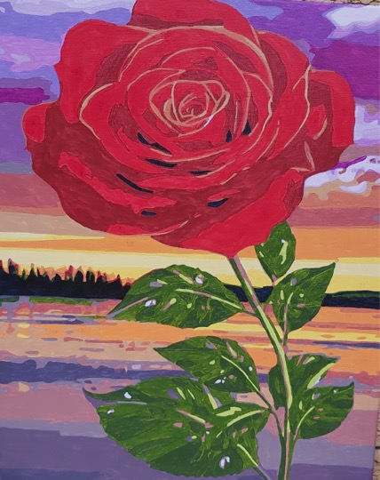 Rose and Sunset by Joan M