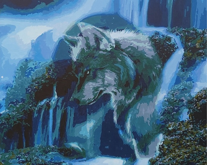 Wolf and Waterfall by Joan M