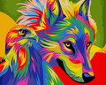 Colourful Wolf and Eagle