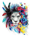 Flower Lion Paint by Numbers