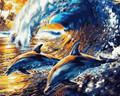Wave Surfing Dolphins