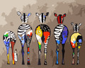 Colourful Zebra Backs