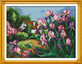 Pink Tulips House Cross Stitch Kit 47x38cm