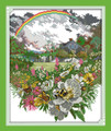 Rainbow and Flowers Cross Stitch Kit 43x51cm