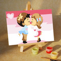 Boy & Girl Kissing in Pink Sky 10x15cm paint by numbers