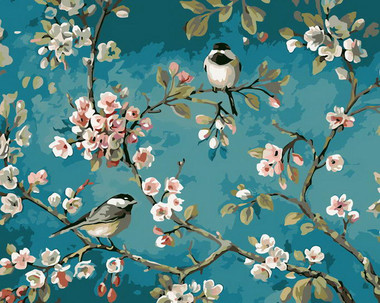 Sparrows on a almond tree