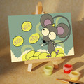 Mouse Tossing 3 Coins paint by numbers