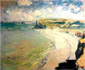 Beach at Pourville by Monet