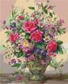 Roses in Green Vase