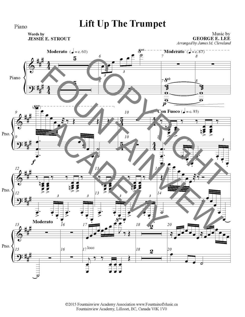 Lift Up The Trumpet Score And Instrumental Parts Fountainview Store Piano Diagram Image 1